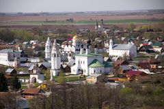 The old historic Russian town of Suzdal - the Golden Ring tourist places top view Royalty Free Stock Photography