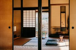 Old historic Samurai houses in Sakura city, Chiba, Japan. DEC 11, 2012 Chiba, JAPAN - Old vintage Tatami and sliding wall living room in Japanese Samurai house stock photos