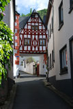 Old historic street and woodframed house in Ediger Germany. Old historic streetand woodframed house in Ediger Mosel Germany Stock Photography