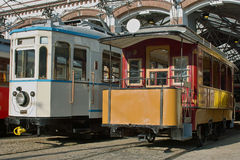 Old historic trams. Stock Photo