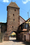 Old and historic village gate in Wangen,Alsace, France Royalty Free Stock Image