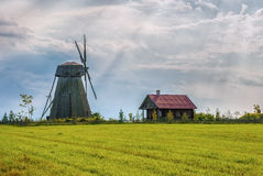 Old historic windmill at sunset Stock Image