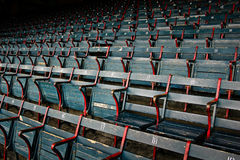 Old historic wood stadium seats at Fenway Park Stock Images
