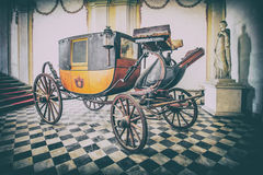 Old historic wooden carriage duke transportation vintage style. Royalty Free Stock Photo