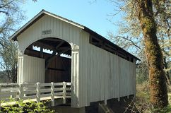 Wooden covered bridge in Oregon royalty free stock image