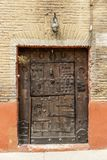 Old historic wooden door in Estella-Lizzara, Navarre Spain stock photo