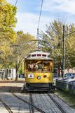 Old historic streetcar in Lowell. Old historic yellow streetcar in Lowell, USA Royalty Free Stock Photo