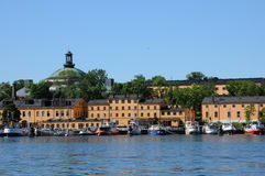 Old and historical boat in the port of Stockholm Stock Photo