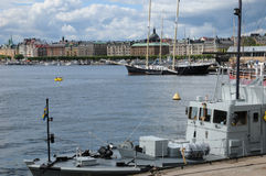 Old and historical boat in the port of Stockholm Stock Images