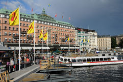 Old and historical boat in the port of Stockholm Royalty Free Stock Photo
