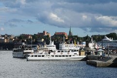 Old and historical boat in the port of Stockholm Royalty Free Stock Images