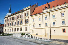 Old historical building of Vajda Janos Gymnasium, Keszthely, Hun. Gary. Architectural theme. Travel destination. School-house scene Royalty Free Stock Images