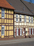 The old historical buildings. The old  half-timbered wall in Templin (Germany Royalty Free Stock Images