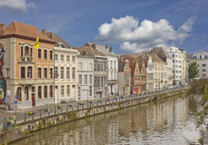 Old historical buildings on the canal bank in Ghent, Belgium Royalty Free Stock Photos