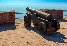 Old historical cannon on the fortress wall of Mehrangarh Fort in Royalty Free Stock Photos