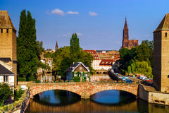 Old historical center of Strasbourg. Fortress towers and briges Royalty Free Stock Image