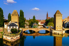 Old historical center of Strasbourg. Fortress towers and briges Royalty Free Stock Photo