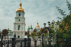 Old historical church with golden domes in Kiev,Ukraine.Travel. Old historical church with golden  domes Stock Photo