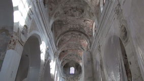 Old historical church indoor space stock footage