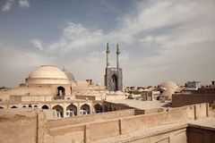 Old Historical City of Yazd with Traditional Buildings in its Skyline Royalty Free Stock Image