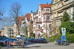 Old historical european style buildings in western part of city Heidelberg in Germany royalty free stock photography