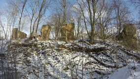 Old historical manor estate ruins in  winter snow, time lapse 4K stock video footage