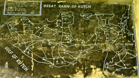 Old historical map of Rann of Kutch pre partition. Old historical map of Rann of Kutch Stock Photo