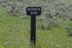 Old historical marker sign on mormon Row. Mormon Row, with Teton Range in background, sunrise, Grand Teton National Park, Jackson Hole, Wyoming stock image