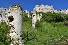 Old historical ruins of castle Spis Slovakia. Old historical ruins of castle Spis in Slovakia royalty free stock photo