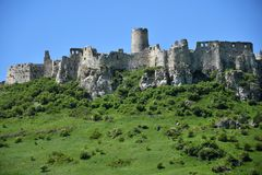 Old historical ruins of castle Spis Slovakia. Old historical ruins of castle Spis in Slovakia royalty free stock photography