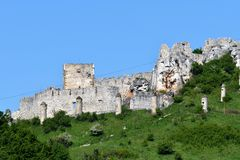 Old historical ruins of castle Spis Slovakia. Old historical ruins of castle Spis in Slovakia stock image