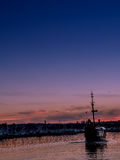 Old historical sail ship at the sunset Royalty Free Stock Image