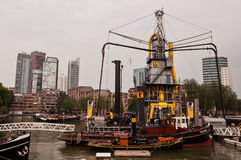 Old historical ship and boat museum in harbor in Rotterdam city Stock Photo