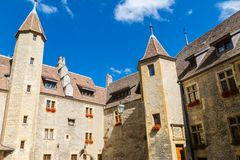 Old historical stone building with turrets Royalty Free Stock Photography