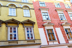 The old, historical tenements in Krakow, Poland Stock Photo