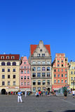 Old historical tenements in WROCLAW, Poland  -12.09.2016. Old historical tenements in Old market square  in WROCLAW, Poland-12.09.2016 Stock Photos
