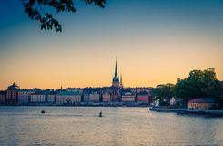 Old quarter Gamla Stan with traditional buildings, Stockholm, Sw stock images