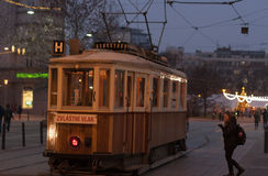 Old historical tram at Moravian square  in Brno Stock Photography