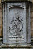 Old historical wall decor plate in Gent, Flanders, Belgium Stock Photo