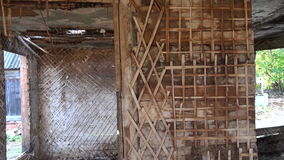 Old historical wooden house ruins wall stock footage