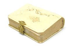 Old history book. A close open history book on white background Royalty Free Stock Photos
