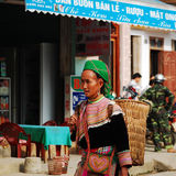 An old Hmong woman at the local market in Yen Bai, Vietnam Royalty Free Stock Photo