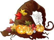 Old holed witch hat with halloween pumpkins, autumn leaves, fly agarics and spiderweb on isolated background. Vector illustration vector illustration