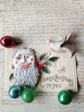 Old holiday card with antique ornaments Royalty Free Stock Photography