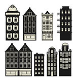 Old Holland houses set Royalty Free Stock Photography