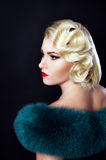 Old Hollywood, girl with fur Royalty Free Stock Image