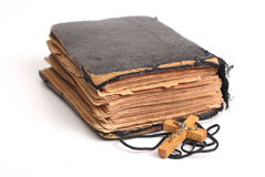 Old holy bible. With cross Stock Photo