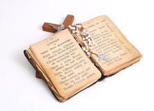 Old holy bible. Open old holy bible with cross Royalty Free Stock Photography