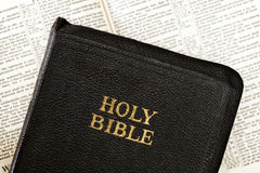 Old Bible over Blurred Open Book Royalty Free Stock Image