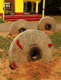 Old  holy cart-ratha- stone wheels. Old  holy cart-ratha- ruined stone wheels in  hosur, tamilnadu, india Stock Image